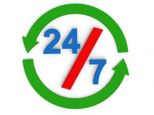 graphic that says 24-7